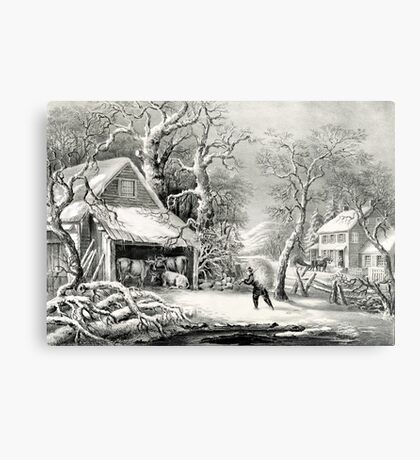 A snowy morning - Currier & Ives - 1864 Metal Print