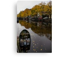 Autumn in Amsterdam - the Abandoned Boat Canvas Print