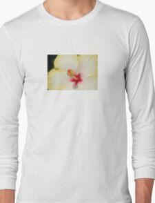 Stamen With Yellow Hibiscus Petal Background Long Sleeve T-Shirt