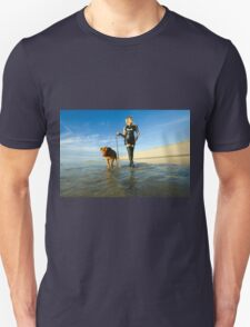woman in latex dress walks her dog on the beach Unisex T-Shirt