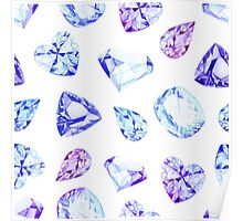 Blue and violet diamond crystals watercolor seamless vector pattern Poster
