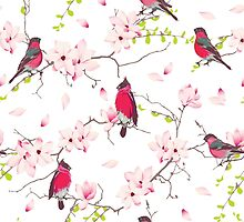 Red bullfinches on the magnolia tree vector seamless print by lavendertime
