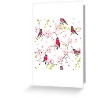 Red bullfinches on the magnolia tree vector seamless print Greeting Card