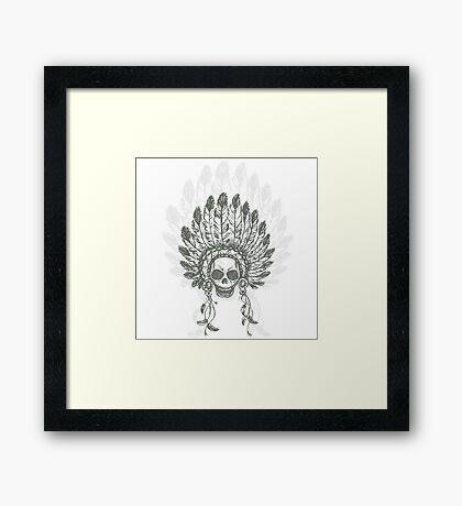 Native American Indian chief headdress Framed Print