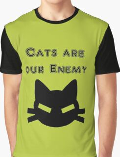 Iskybibblle Products Cats are our Enemy Black Graphic T-Shirt