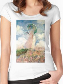 Claude Monet - Woman with a Parasol, Study Women's Fitted Scoop T-Shirt