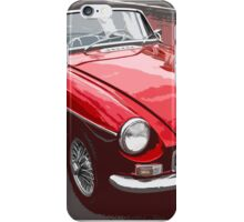 Red convertible MG classic car iPhone Case/Skin