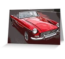 Red convertible MG classic car Greeting Card