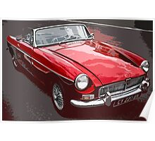 Red convertible MG classic car Poster
