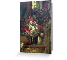 EUGENE DELACROIX, VASE OF FLOWERS ON A CONSOLE Greeting Card