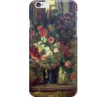 EUGENE DELACROIX, VASE OF FLOWERS ON A CONSOLE iPhone Case/Skin