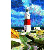 A digital painting of Europa Point Lighthouse, Gibraltar Photographic Print