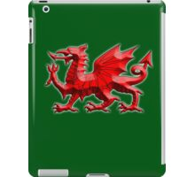 WALES, WELSH, RED DRAGON OF WALES, WELSH FLAG, on Green iPad Case/Skin