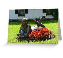 Metal Statue of a Lady on a Summer's Day Greeting Card