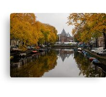 Autumn in Amsterdam - Colorful Symmetrical Stillness Canvas Print