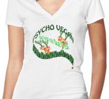 psycho vegan Women's Fitted V-Neck T-Shirt