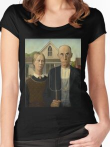 Grant Wood - American Gothic Women's Fitted Scoop T-Shirt
