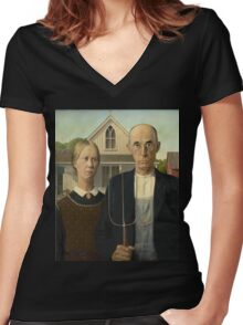 Grant Wood - American Gothic Women's Fitted V-Neck T-Shirt