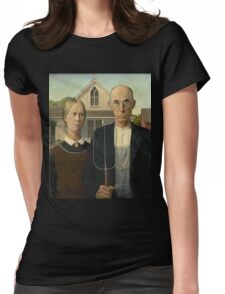Grant Wood - American Gothic Womens Fitted T-Shirt