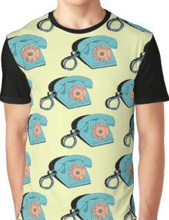 Telephone (yellow & aqua) Graphic T-Shirt