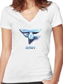 Faze Rain | Old Logo | White Background |  Women's Fitted V-Neck T-Shirt