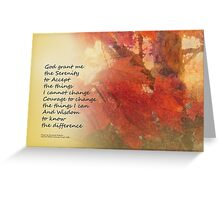 Serenity Prayer Maple Leaves Orange Greeting Card