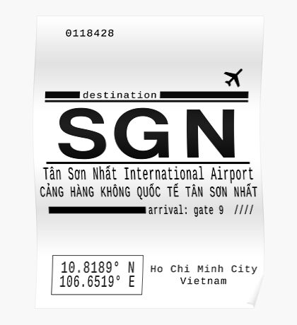 SGN Ho Chi Minh City International Airport Call Letters Poster