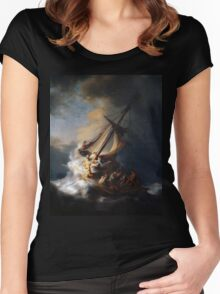 Rembrandt's The Storm on the Sea of Galilee Women's Fitted Scoop T-Shirt