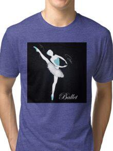pretty ballet dancer on black Tri-blend T-Shirt