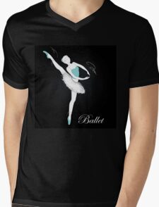 pretty ballet dancer on black Mens V-Neck T-Shirt