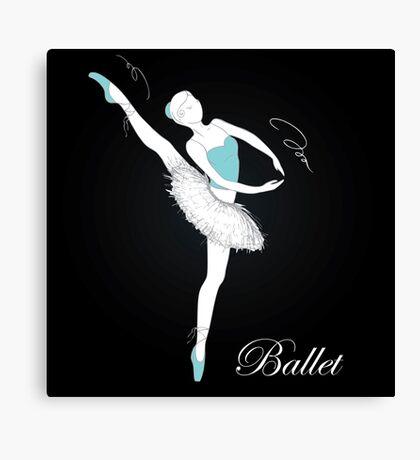 pretty ballet dancer on black Canvas Print