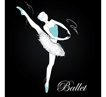pretty ballet dancer on black Photographic Print