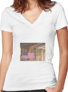 American Flag Women's Fitted V-Neck T-Shirt