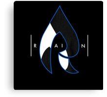 Faze Rain | Raindrop Blue, White and Black | Logo | Black Background |  Canvas Print