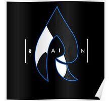 Faze Rain | Raindrop Blue, White and Black | Logo | Black Background |  Poster