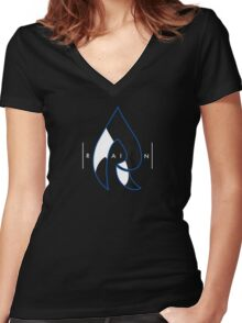 Faze Rain | Raindrop Blue, White and Black | Logo | Black Background |  Women's Fitted V-Neck T-Shirt