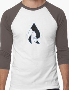 Faze Rain | Raindrop Blue, White and Black | Logo | Black Background |  Men's Baseball ¾ T-Shirt