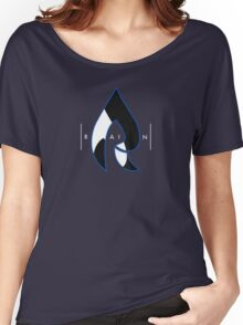 Faze Rain | Raindrop Blue, White and Black | Logo | Black Background |  Women's Relaxed Fit T-Shirt