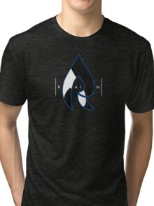 Faze Rain | Raindrop Blue, White and Black | Logo | Black Background |  Tri-blend T-Shirt