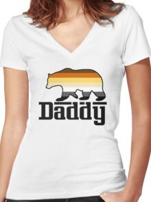 daddy bear Women's Fitted V-Neck T-Shirt