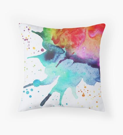 Rainbow Chakra Watercolor Splash Throw Pillow