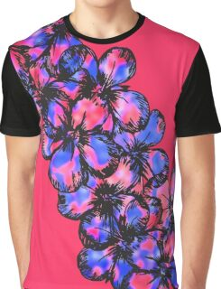 Pretty Pink and Purple Painted Flowers Graphic T-Shirt