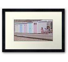 Beach huts & beach cafe Framed Print