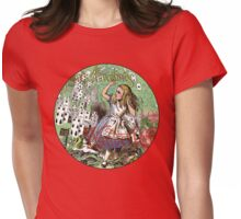 Alice in Wonderland Adventure Vintage Flying Cards Womens Fitted T-Shirt