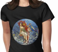 Vintage Mermaid Aquarius Gothic Whimsical Collage Womens Fitted T-Shirt