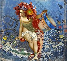 Vintage Mermaid Aquarius Gothic Whimsical Collage by antiqueart