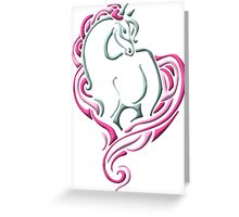 Stylized Horse with Pink Greeting Card