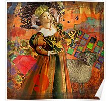 Vintage Aries Gothic Whimsical Collage Woman Fantasy Poster