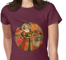 Vintage Aries Gothic Whimsical Collage Woman Fantasy Womens Fitted T-Shirt