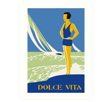 Dolce vita, jazz age deco style beach seaside summer travel Art Print